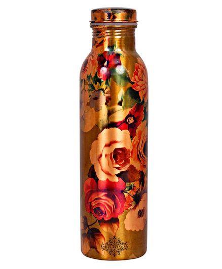 Indian Art Villa Floral Design Copper Water Bottle Multi colour - 900 ml
