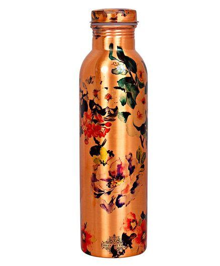 Indian Art Villa Copper Bottle Floral Design - 900 ml