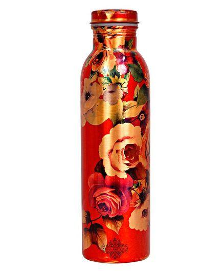 Indian Art Villa Copper Floral Design Water Bottle Multicolor - 900 ml