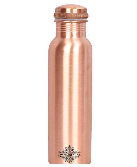 Indian Art Villa Copper Water Bottle Golden Brown - 1000 ml