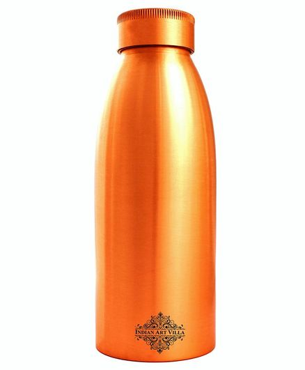 Indian Art Villa Copper Water Bottle Golden Brown - 700 ml