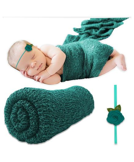 Bembika Ripple Stretch Wrap & Headband Photo Props Set - Pinegreen