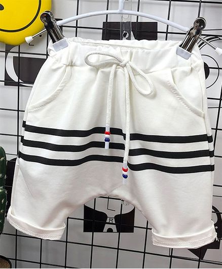 Pre Order - Awabox Knee Length Striped Shorts - White