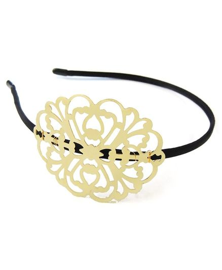 Lime By Manika Gold Brooch Hair Band - Golden & Black