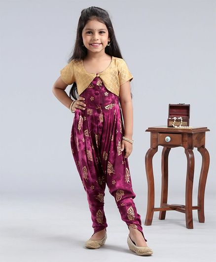 M'andy Brocade Peacock Feather Print Jumpsuit With Half Sleeves Jacket - Purple