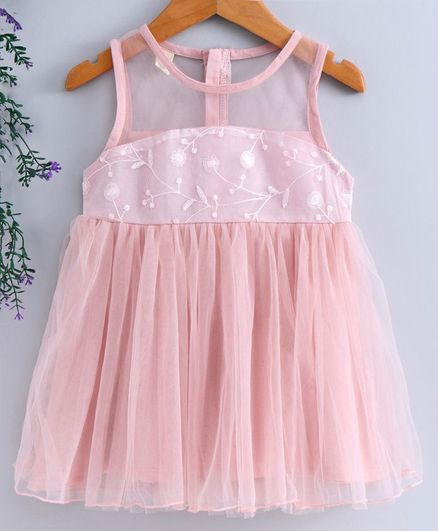 Leeker Kids Sleeveless Party Wear Frock Floral Embroidered - Pink