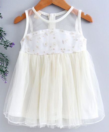 Leeker Kids Sleeveless Party Wear Frock Floral Embroidered - White