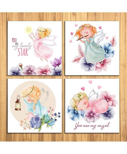 Wens Adorable Angel Sparkle Laminated Wall Panels Set of 4 - White