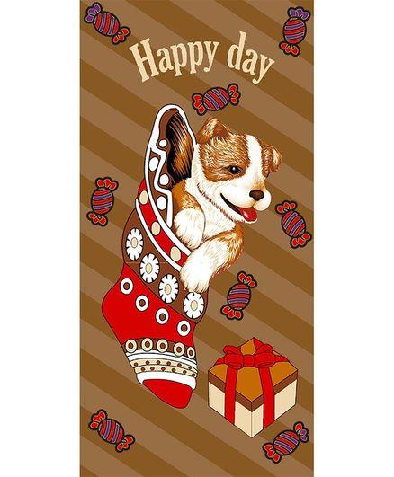 Sassoon Cotton Towel Happy Day Print - Brown