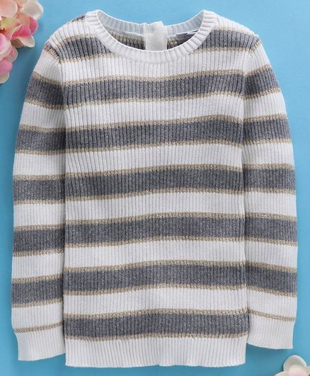 OVS Striped Full Sleeves Sweater - White & Grey