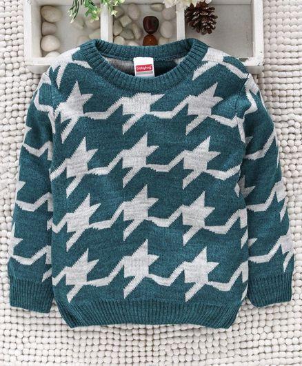 Babyhug Full Sleeves Sweater Abstract Design - Green