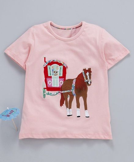 Kookie kids Half Sleeves Tee Horse Patch - Peach