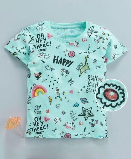 Kookie Kids Half Sleeves Tee Doodle Print - Aqua Blue