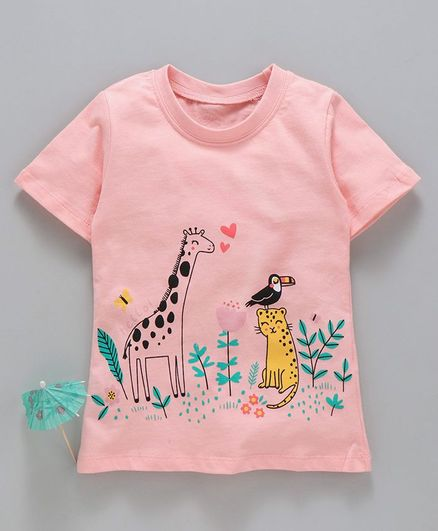 Kookie Kids Half Sleeves Tee Animal Print - Peach