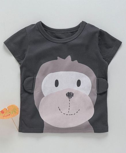 Kookie Kids Half Sleeves Tee Monkey Print - Grey