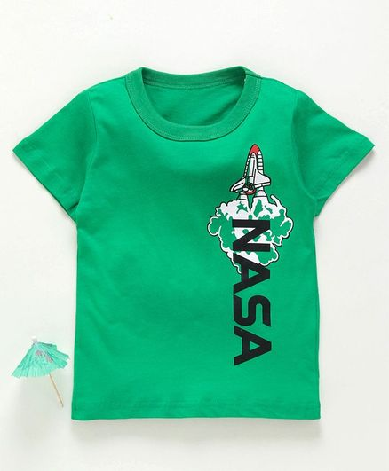 Kookie Kids Half Sleeves Tee Nasa Print - Green