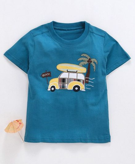 Kookie Kids Half Sleeves Tee Car Patch - Teal Blue