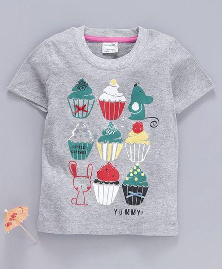 Kookie Kids Half Sleeves Tee Ice Cream Print - Grey