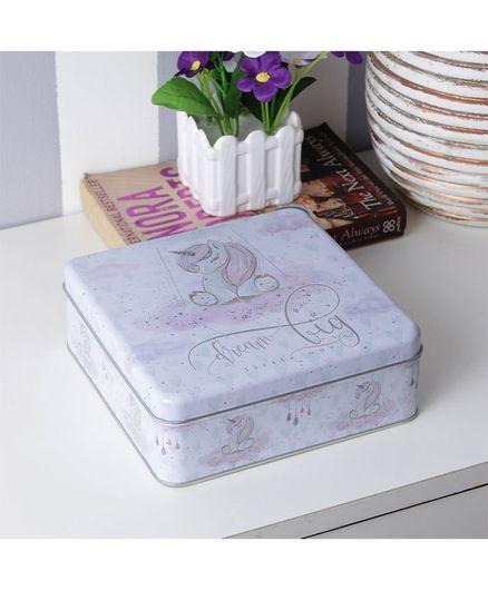 Quirky Monkey Square Dream Big Unicorn Tin Storage Box - Purple