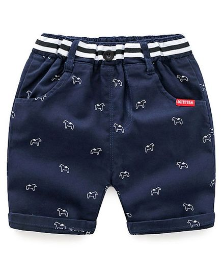 Awabox Horse Printed Front Pocket Shorts - Navy Blue