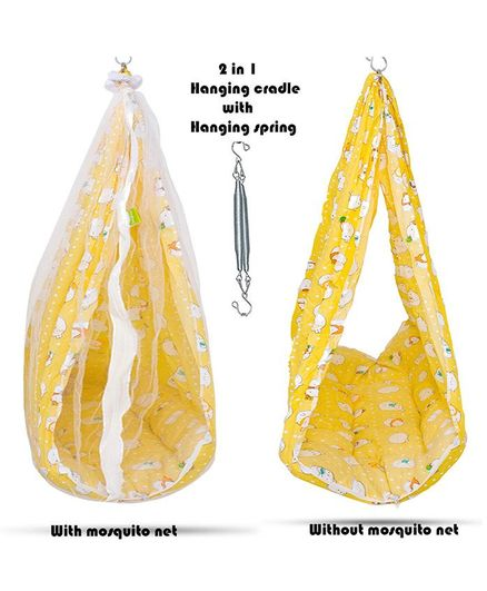 Baybee Aurora Hanging Cradle With Mosquito Net - Yellow
