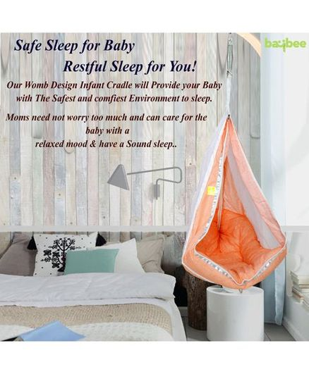 Baybee Princess Hanging Cradle With Mosquito Net - Orange