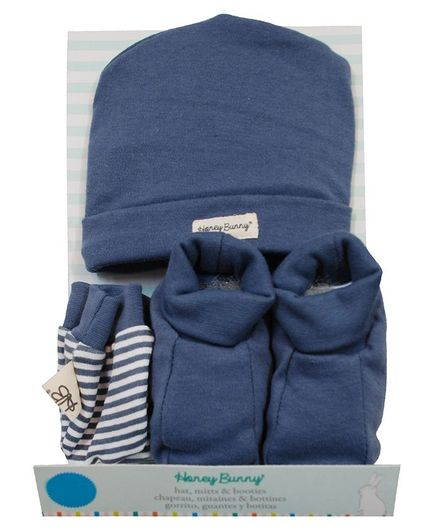 Honey Bunny Cotton Cap Mittens And Booties Gift Set  - Blue