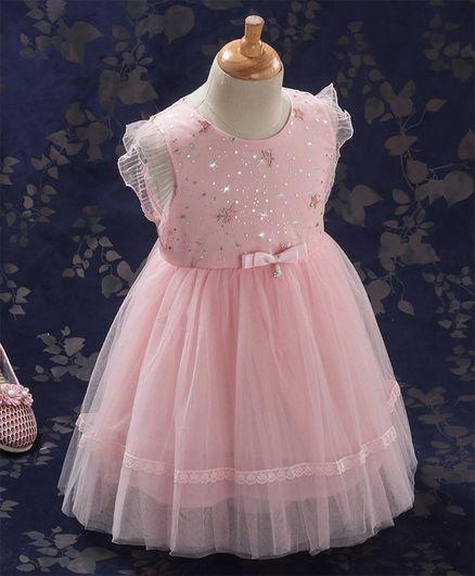Kookie Kids Flutter Sleeves Party Frock Star Embellished - Pink