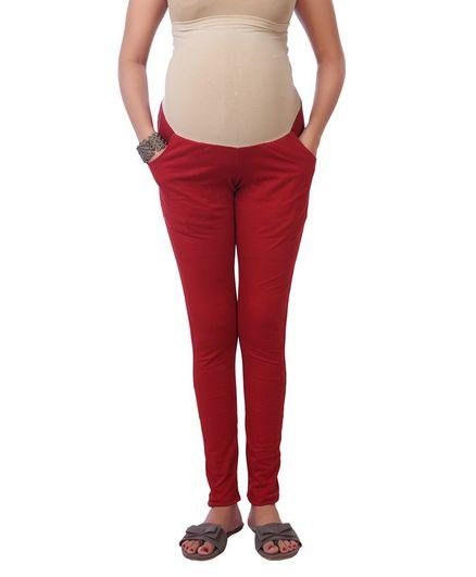 Kriti Maternity Leggings With Tummy Hug - Dark Red
