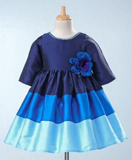 A Little Fable Flower Applique Colour Block Patterned Half Sleeves Dress - Navy Blue