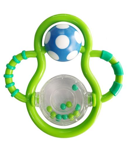 Buddsbuddy Grasp & Spin Rattle - Blue Green