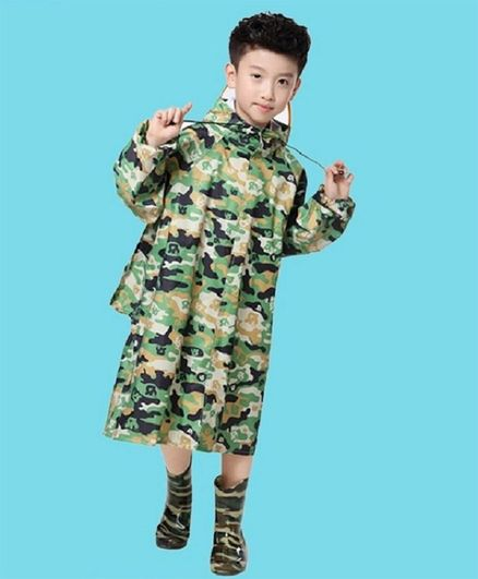 Awabox Full Sleeves Camouflage Pattern Hooded Raincoat - Green
