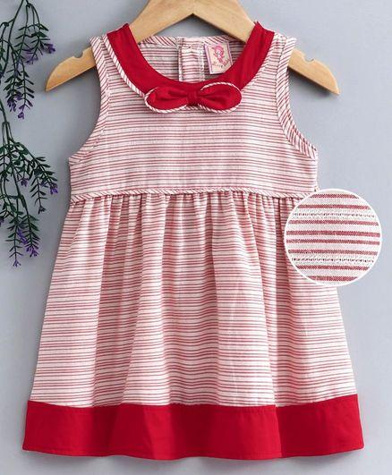 Sunny Baby Sleeveless Striped Frock - Red Cream