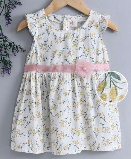 Kookie Kids Sleeveless Frock Floral Print - Off White