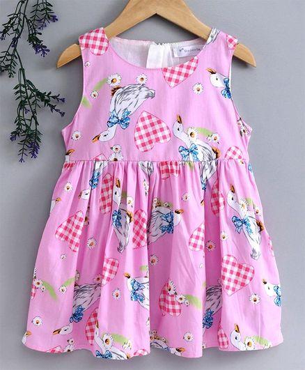 Kookie Kids Sleeveless Frock Hearts Print - Pink