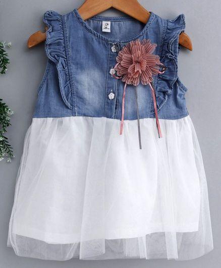 Kookie Kids Sleeveless Denim Frock Flower Applique - White Blue