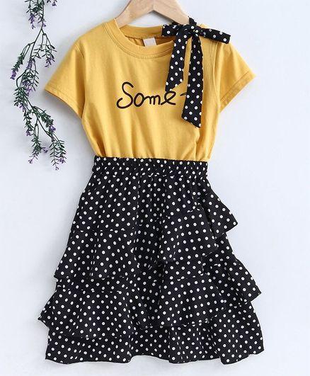 Kookie Kids Half Sleeves Top & Skirt Polka Dot Print - Black Yellow