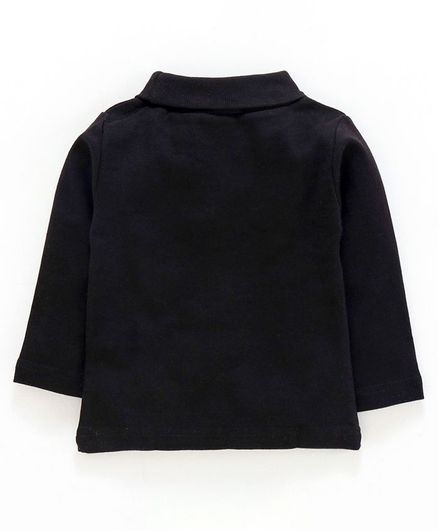 Pink Rabbit Full Sleeves High Neck Winter Wear Knitted Tee - Black