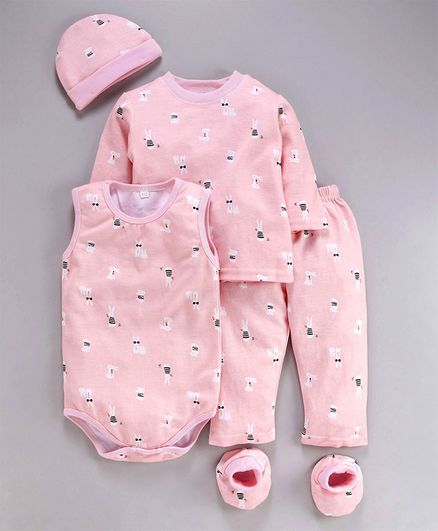 MFM 5 Piece Clothing Gift Set Allover Print - Peach