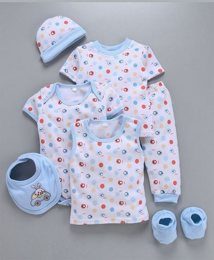 MFM 7 Piece Clothing Set Multi Print - Blue White