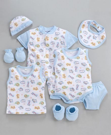 MFM 6 Piece Clothing Set Animals Print - Blue White