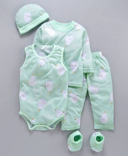 MFM 5 Piece Clothing Gift Set Allover Print - Light Green