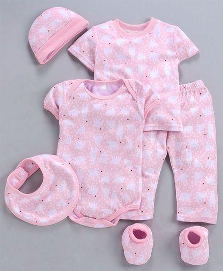 MFM 6 Piece Clothing Set Bear Print - Pink White
