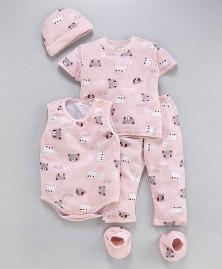 MFM Half Sleeves Printed 5 Piece Clothing Set Bear Print - Pink