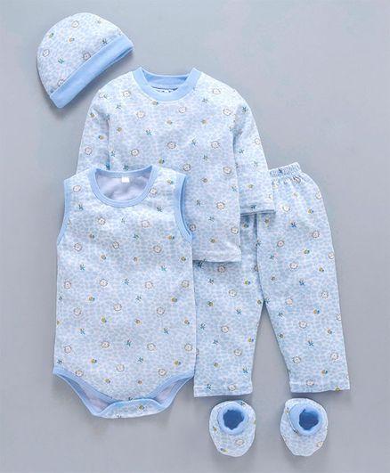MFM Full Sleeves Printed 5 Piece Clothing Set Multi Print - Blue