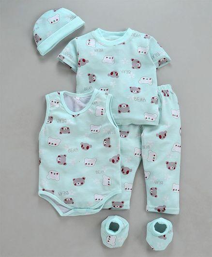MFM Half Sleeves Printed 5 Piece Clothing Set Bear Print - Blue