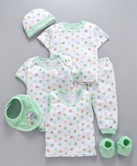 MFM 7 Piece Clothing Set Multi Print - Green White