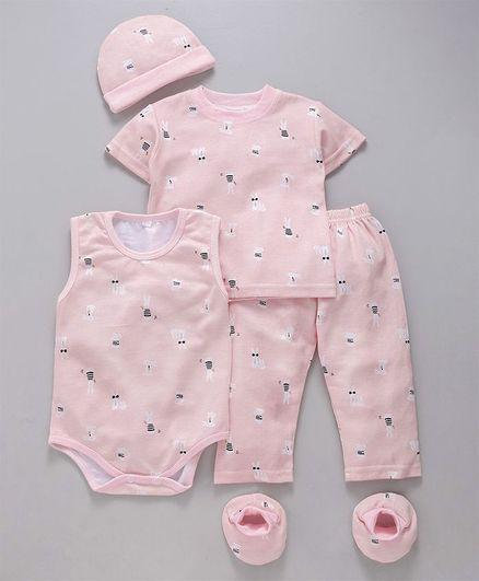 MFM 5 Piece Baby Clothing Set Bunny Print - Pink