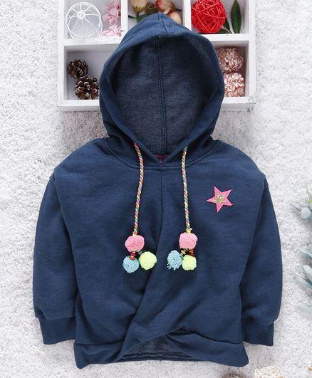 Little Kangaroos Full Sleeves Hooded Sweatshirt With Pom Pom Motif - Navy Blue