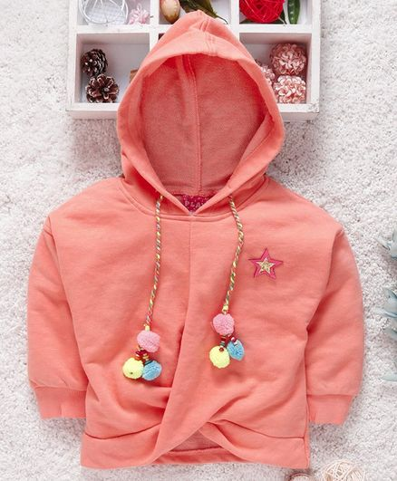 Little Kangaroos Full Sleeves Hooded Sweatshirt With Pom Pom Motif - Peach
